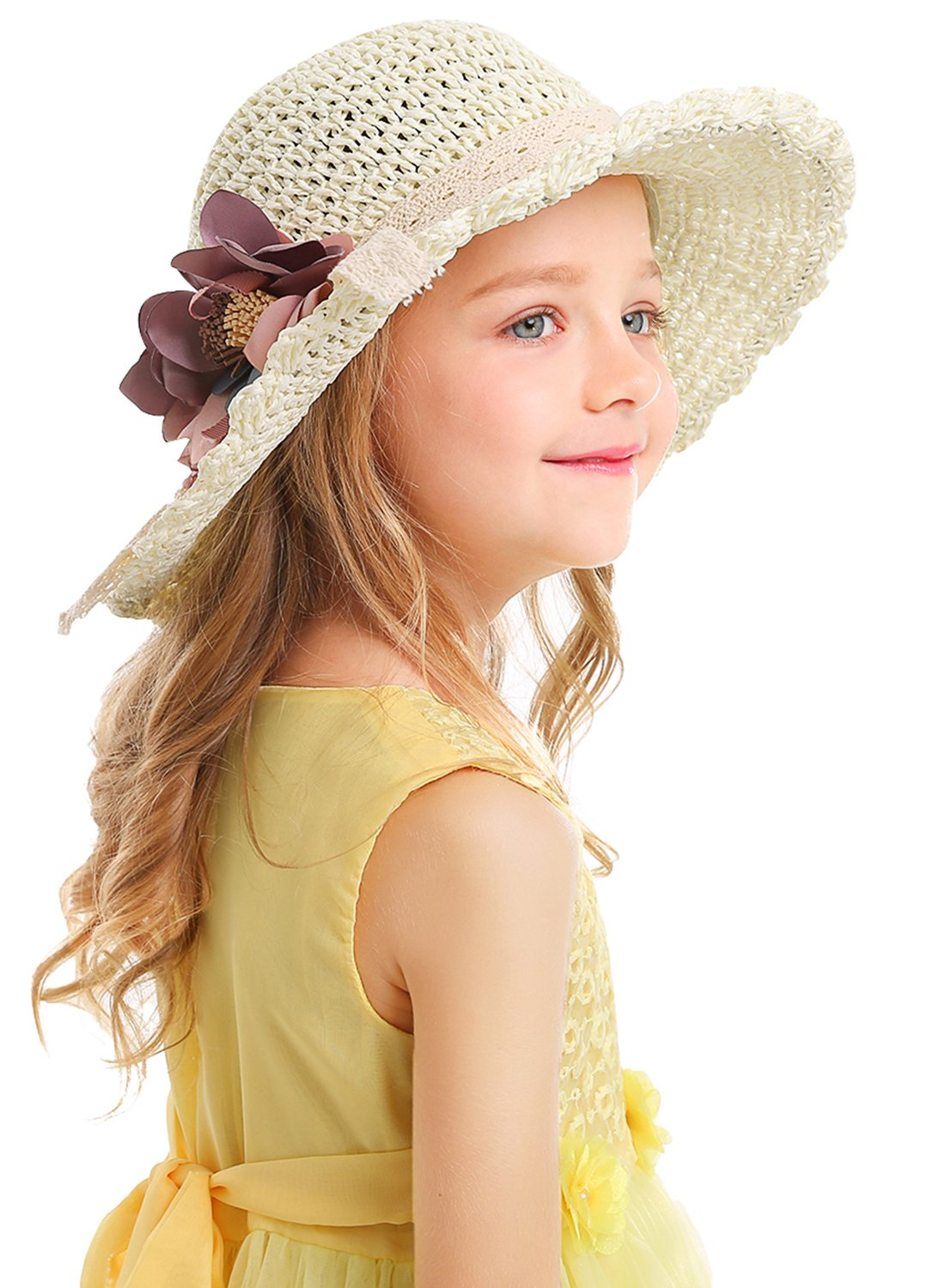 Bienvenu Kids Girl Summer Straw Hat with Flowers Beach Sun Protection Hats,Style2_White