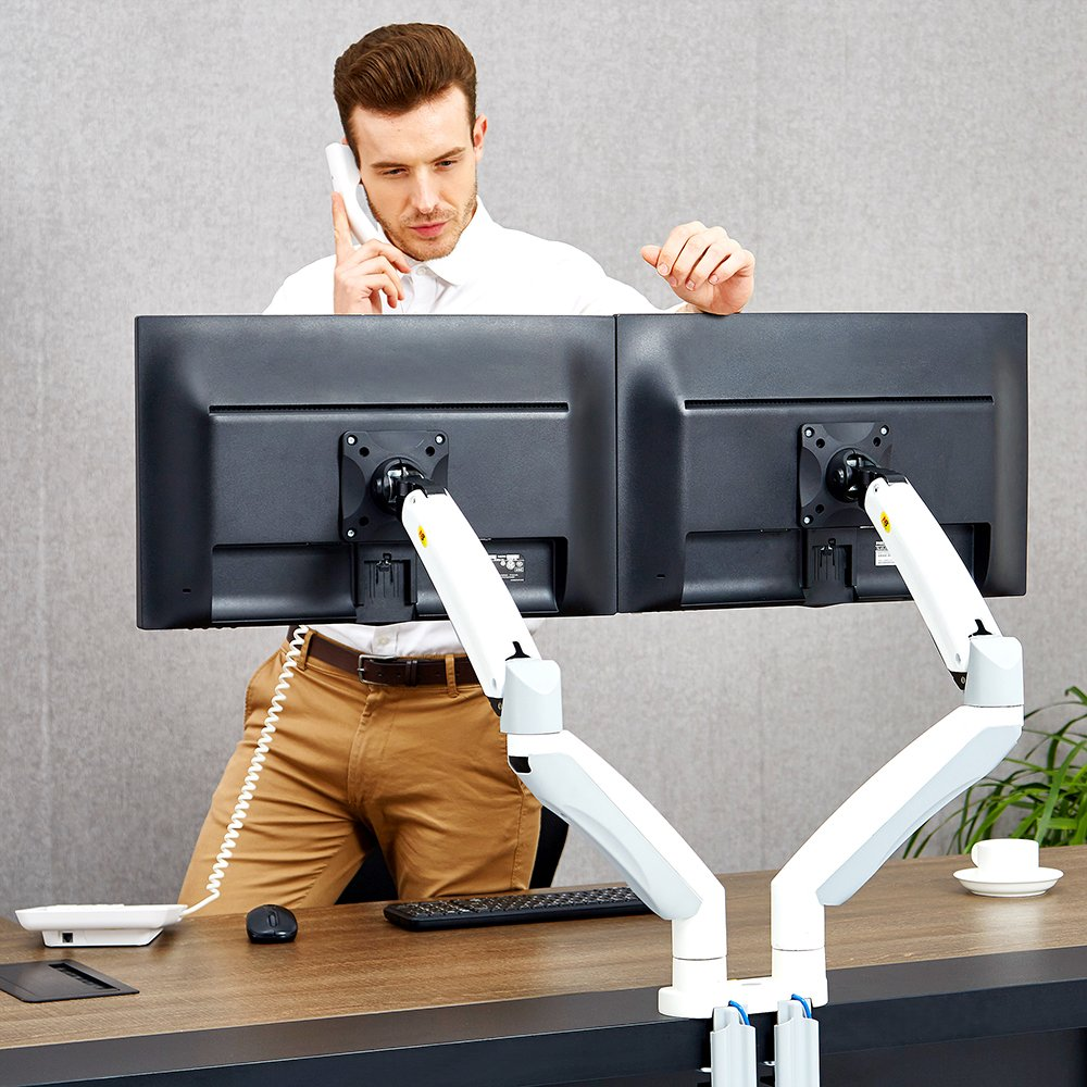 North Bayou Dual Monitor Desk Mount Stand Full Motion Swivel Computer Monitor Arm for Two Screens up to 32'' with Gas Spring F195A-W LTD