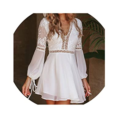 cf01d6c306 Women Casual Sexy V-Neck Long Sleeve Lace Trim Short Mini Dress White Dress  Vestido at Amazon Women's Clothing store: