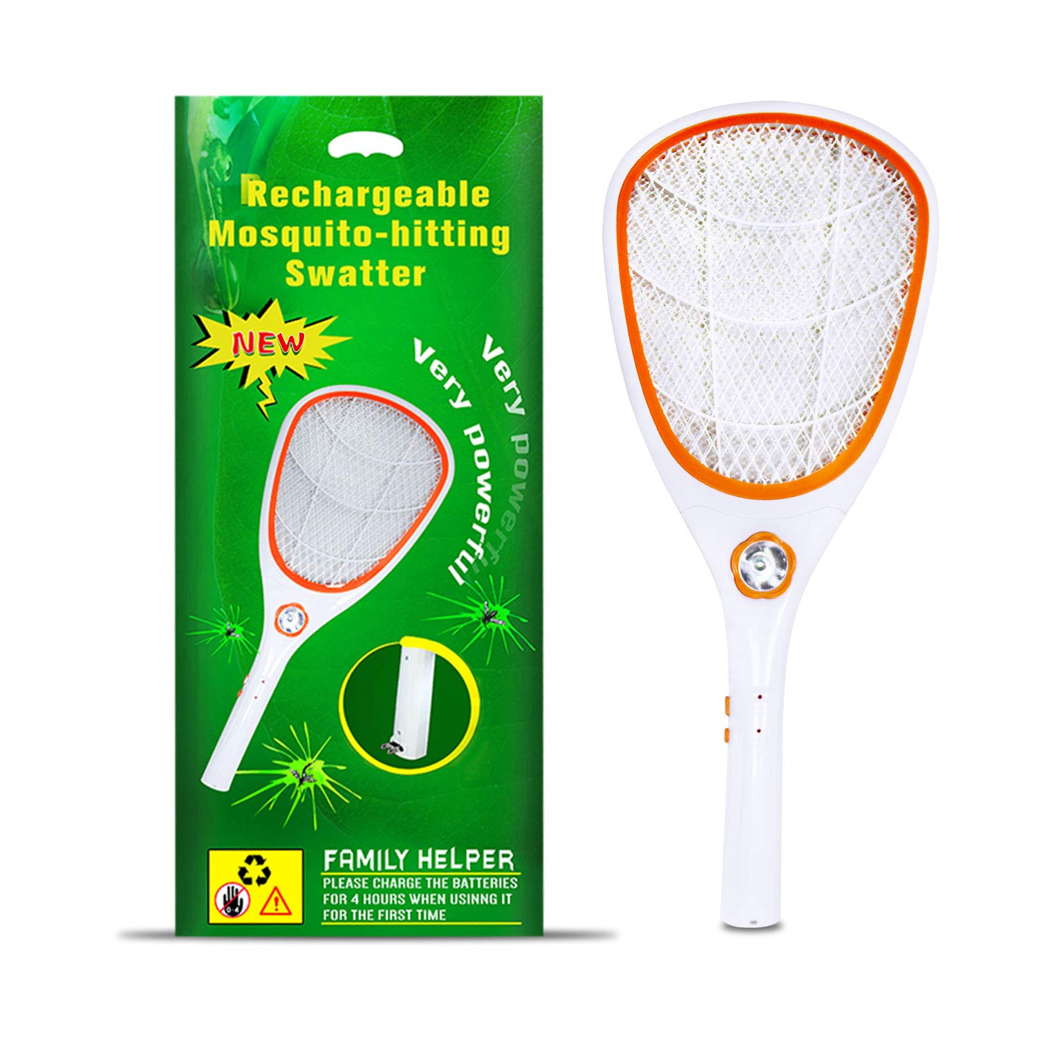 Tlanpu Electric Bug Zapper-Rechargeable Mosquito Swatter,Fly Killer pest  Racket,Best for Indoor and Outdoor Insect Control,3000Volt,Super-Bright LED