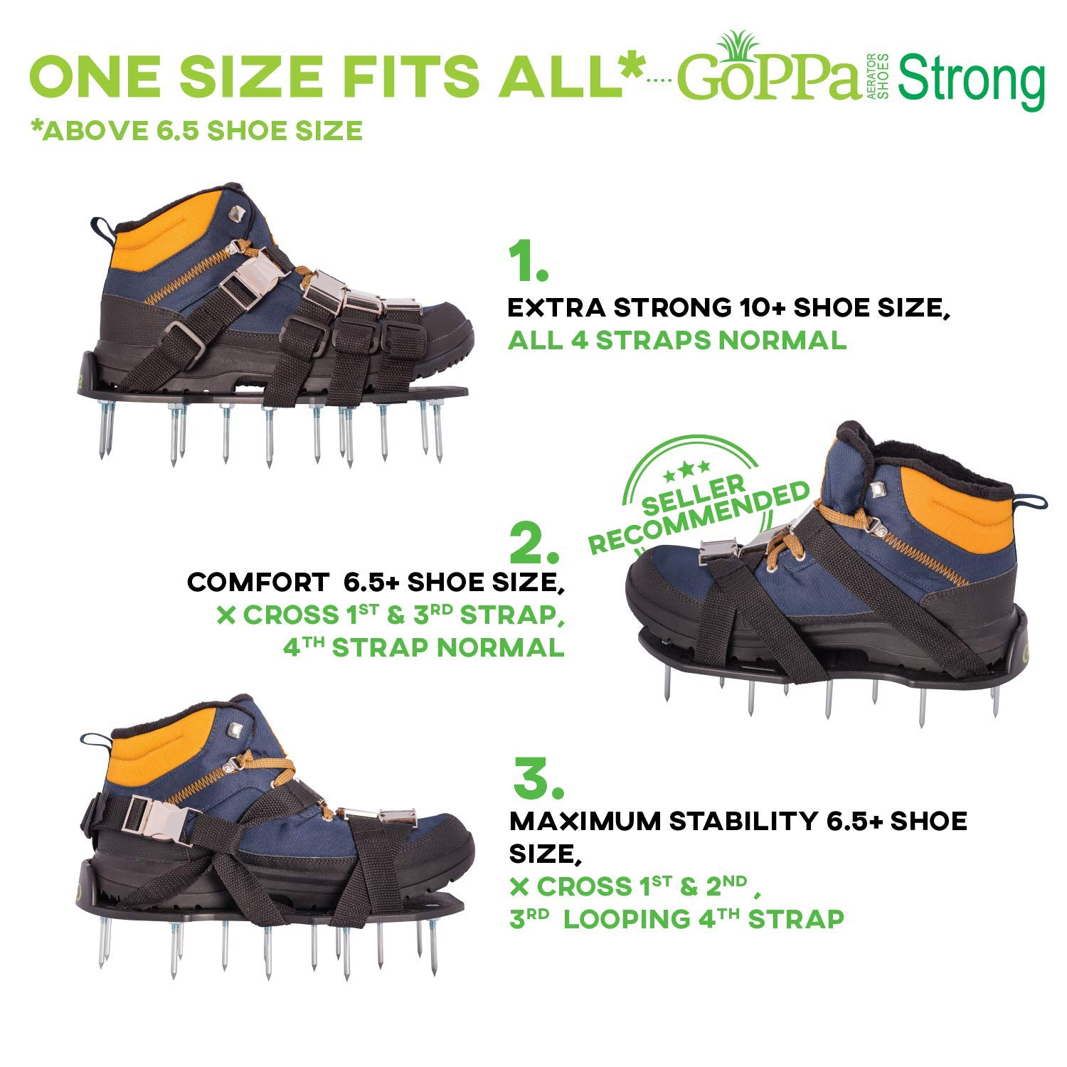 GoPPa Lawn Aerator Shoes – Heavy Duty Lawn Aerator Sandal, You only FIT Once. Ready for aerating Your Yard, Lawn, Roots & Grass – Strong Design by GoPPa (Image #4)