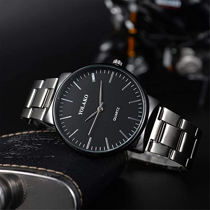 Amazon.com : SUPERON Relojes Hombre Watch Men Crystal Stainless Steel Analog Quartz Business Wrist Watches Bracelet Man Military Watch erkek KOL(Black, ...