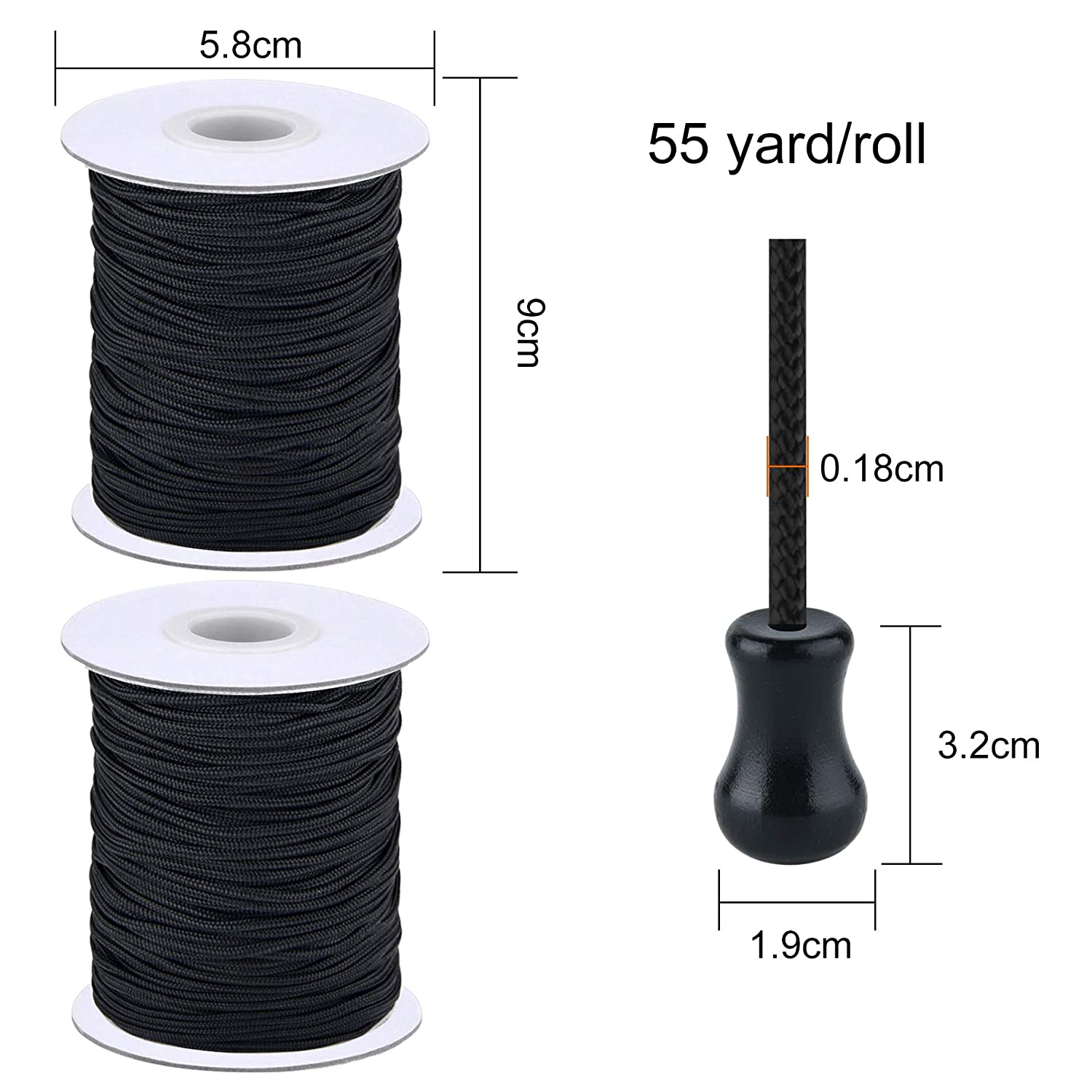 Gardening Plant and Crafts SAYAYA 2 Roll 1.8 mm Braided Lift Shade Cord 55 Yards//Roll with 8 Pieces Wood Pendant for Aluminum Blind Shade White