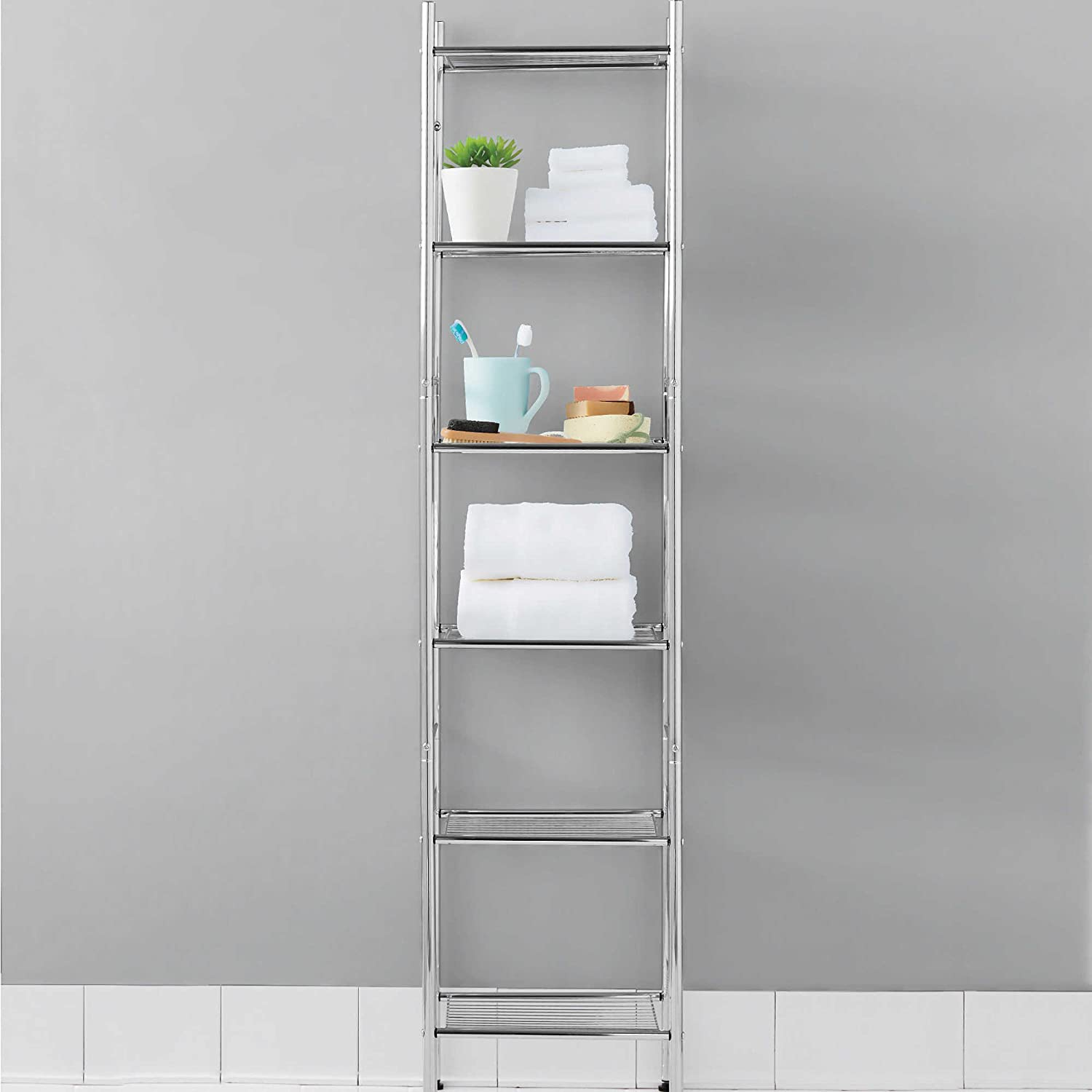 Amazon.com: 6 Tier Tower Shelf In Chrome Finish U2013 56u201d High U0026 Space Saver,  For Books In Dorm, Towels In Bathroom Or Folded Clothing In Closet: Kitchen  U0026 ...