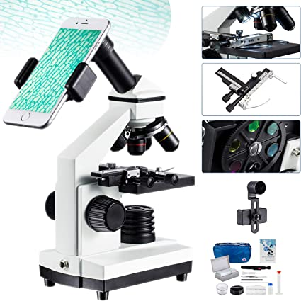OMAX 40X-1000X Student Compound LED Microscope+Blank Slides+Covers+Lens Paper+Prepared Slides