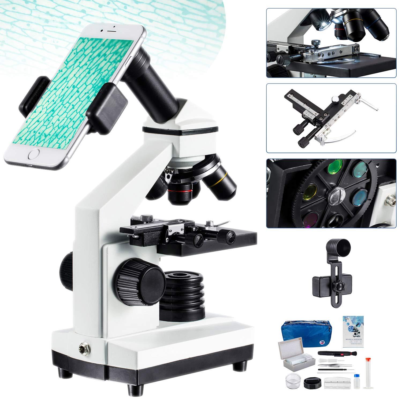 Microscopio monocular de regla móvil con LED