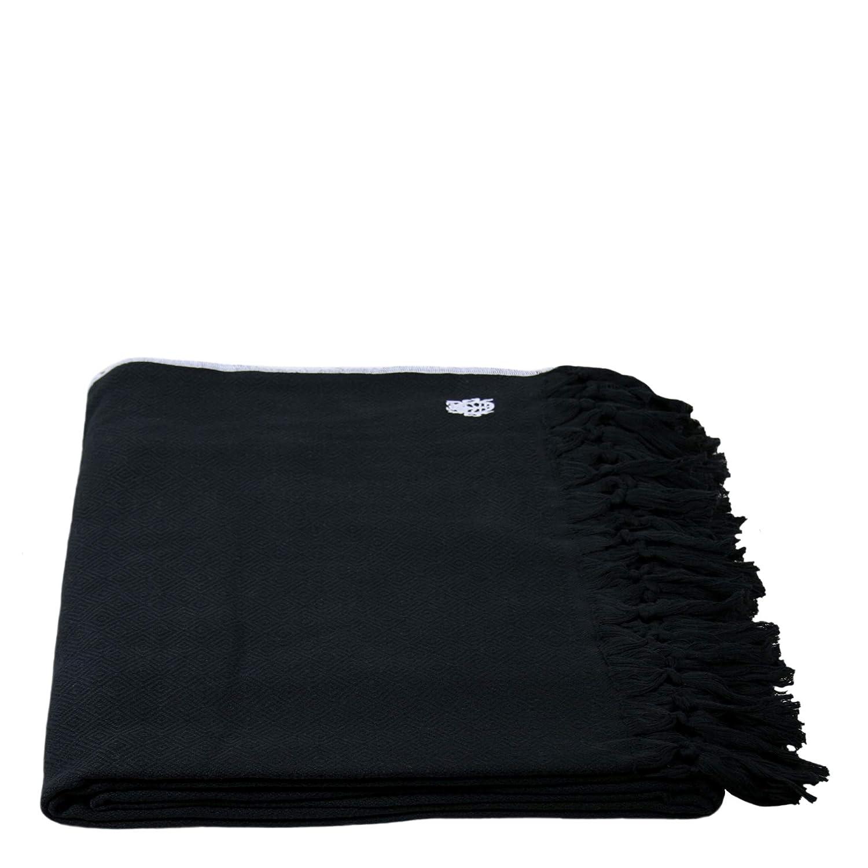 Sunny-Decke – weiche, leichte Decke aus Baumwolle für Sofa, Terrasse und Garten – Plaid mit Fransen - 160x200 cm – 980 schwarz – von 'zoeppritz since 1828'