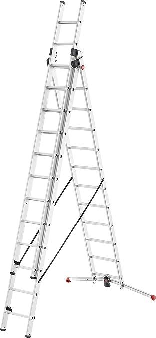 Hailo S100 ProfiLOT 9312-507 - Escalera combinada de Aluminio con Sistema Lot, 3 x 12 peldaños, Sistema Lot, Ajuste de Escalera, hasta 150 kg, Color Plateado: Amazon.es: Bricolaje y herramientas