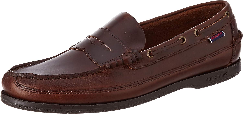 Mens Sebago Sloop Waxed Leather Docksides Loafer Deck Shoes