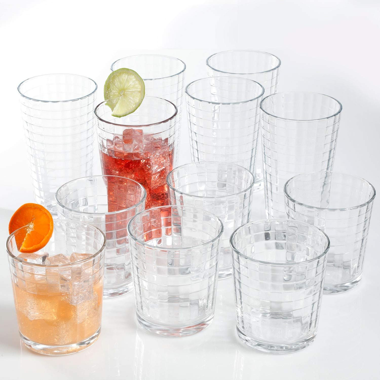 6 Cooler Glasses And 6 Rocks Glasses Juice And Cocktails Heavy Base Glass Cups For Water