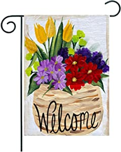 ZUEXT Welcome Spring Floral Pot Garden Flag 12.5 x 18 Inch Vertical Double Sided, Rustic Yellow Tulip Green Lisianthus Flower Yard Flag, Seasonal Spring Outdoor Holiday Party Decor Housewarming Gift