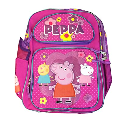 "Children Peppa Pig Backpacks Kids Cartoon School Bag Large - 16"" high-quality"