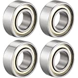uxcell 687ZZ Ball Bearing 7mm x 14mm x 5mm Double Shielded 687-2Z Deep Groove Bearings, Carbon Steel (Pack of 4)