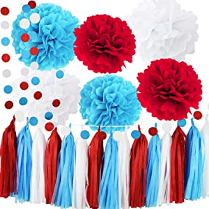 Dr Suess Party Deorations Cat in the Hat Party/Bridal Shower Decorations Turquoise White Red Tissue Pom Pom Circle Garland for Baby Shower Decorations/Birthday Decorations/Aqua Red Wedding Decorations