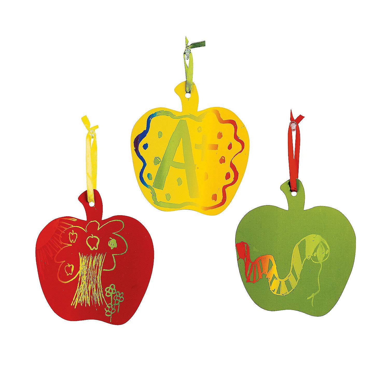 Craft Supplies Magic Color Scratch Apples Ornaments 24 Pieces Fun Express Magic Scratch