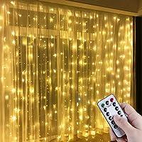 Cortina de luces LED, NEWKIBOU 3 * 3M 300LEDs luz led lampara lluminación de decoración al aire libre con 8 modelos de…