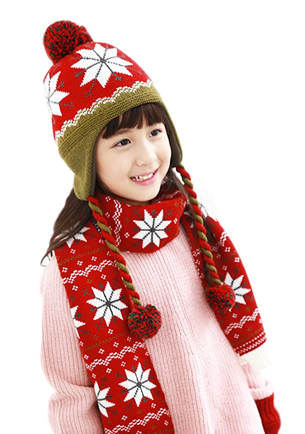Unisex Kids Winter Warm 2 pcs Knitted Hat Scarf Set Snow Pattern Warm Fleece Lined Pompom Beanie Hat with Ear Flaps Long Scarf Neck Warmer Wrap Set for 3-10 Year Old Kids