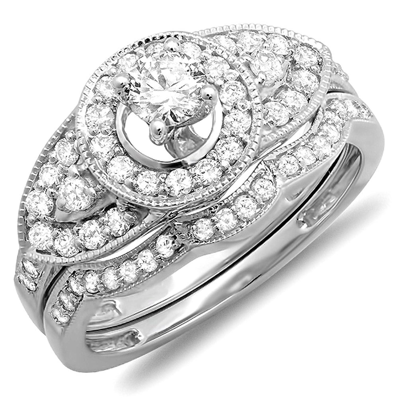 1.00 Carat (ctw) 10K Gold Round Diamond Ladies Vintage Look Wedding Ring Set with Matching Band 1 CT