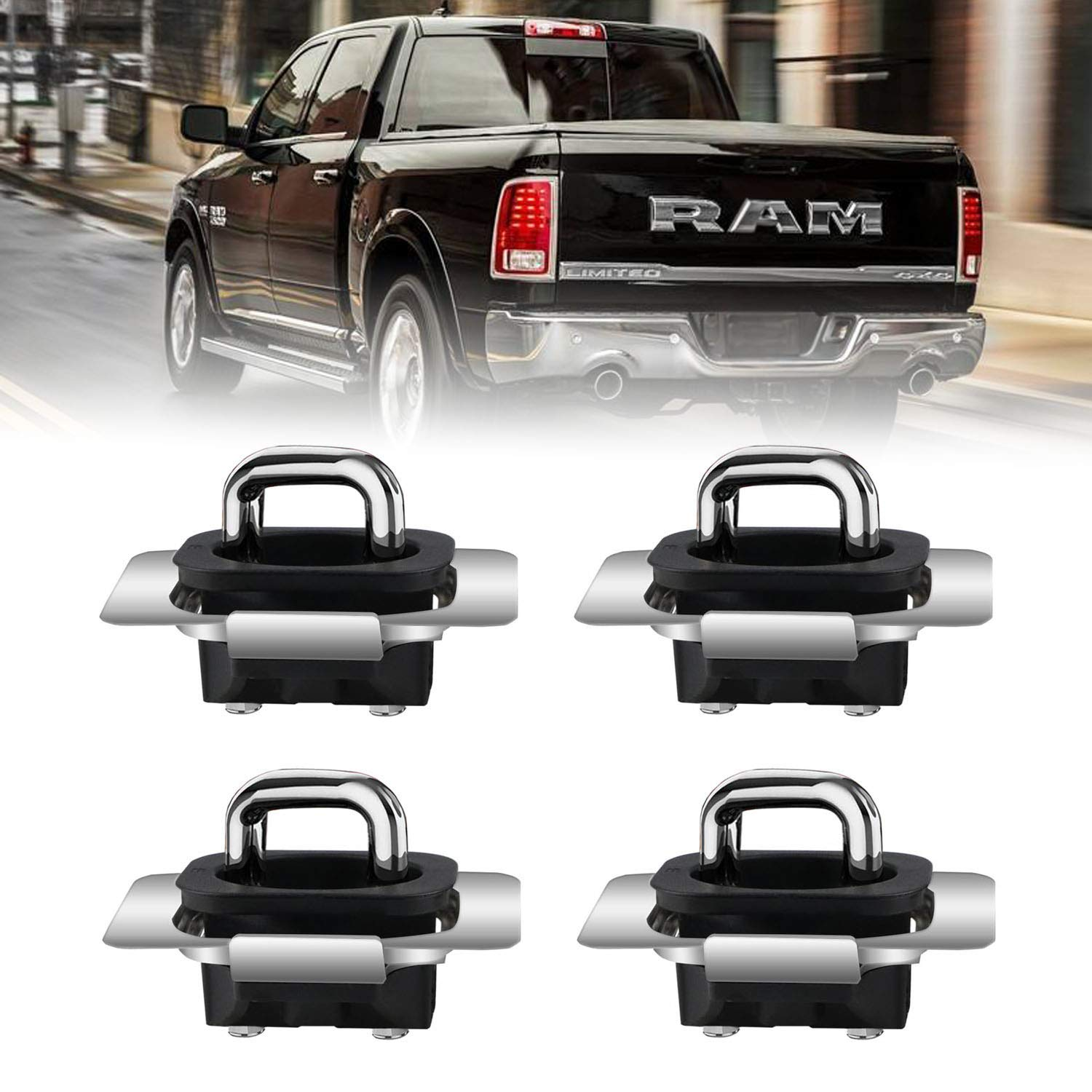 Dibanyou for 2009-2018 Dodge Ram 1500 2500 3500 Tie Down Anchors Truck Bed Side Wall Anchors 4 Pack
