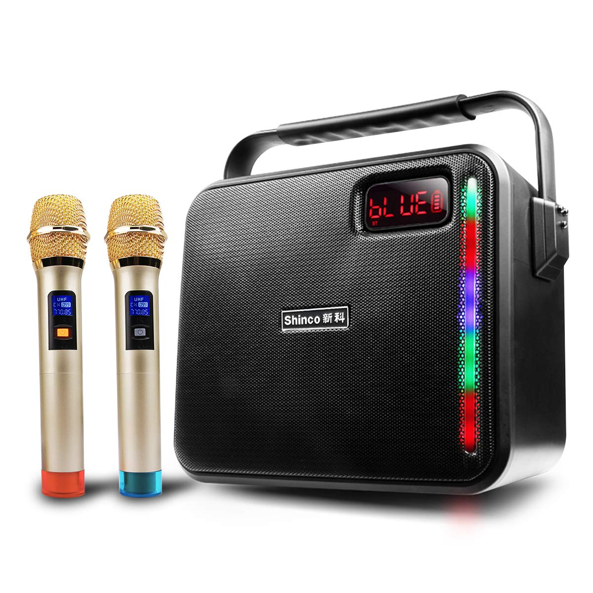 Shinco Portable PA System Bluetooth Karaoke Machine Battery Powered PA Speaker with 2 UHF Wireless Microphone, AUX Cable USB Charging for Smartphone and Tablet