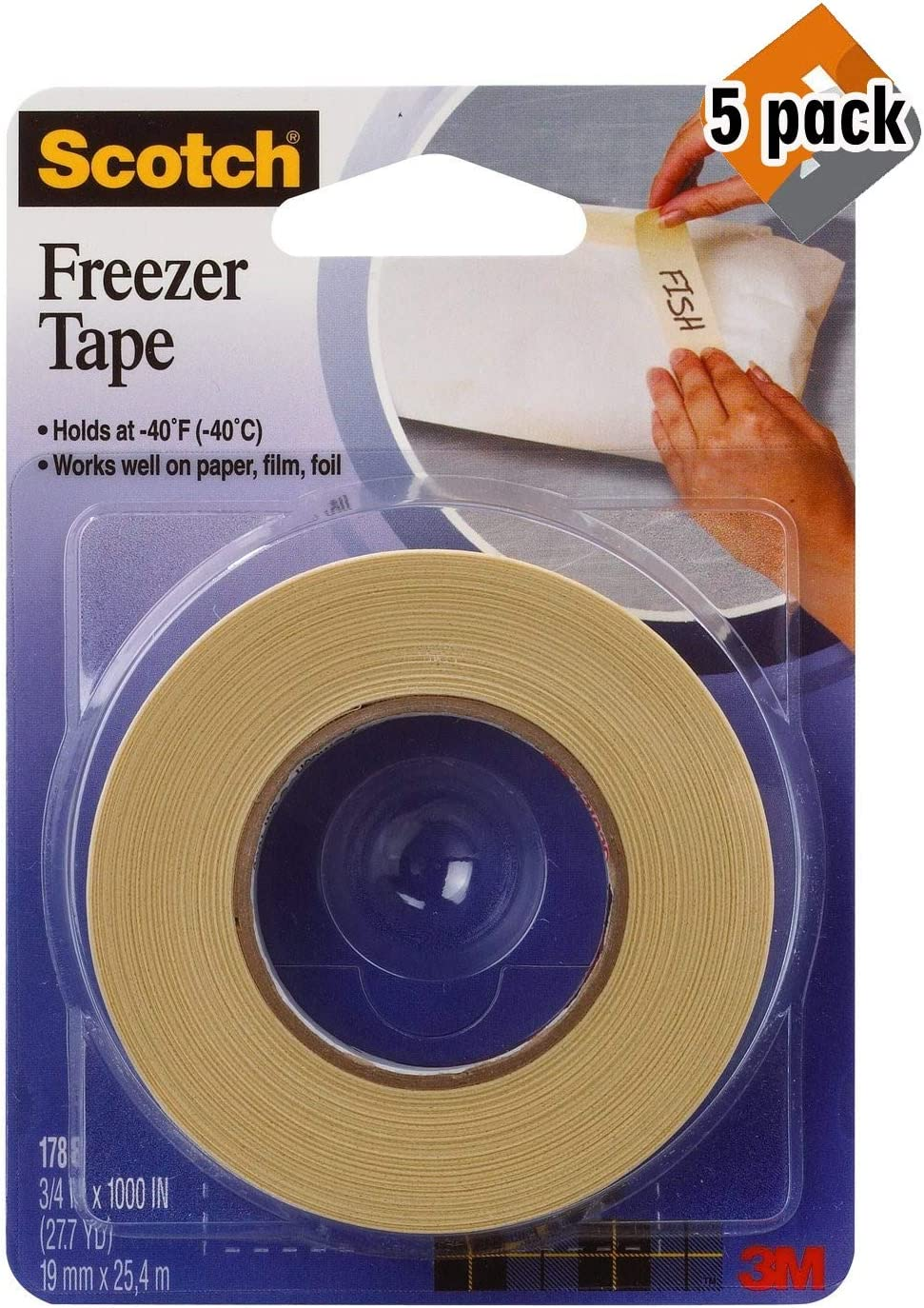 Scotch Freezer Tape, 3/4 x 1000 Inch (178) 5 Pack
