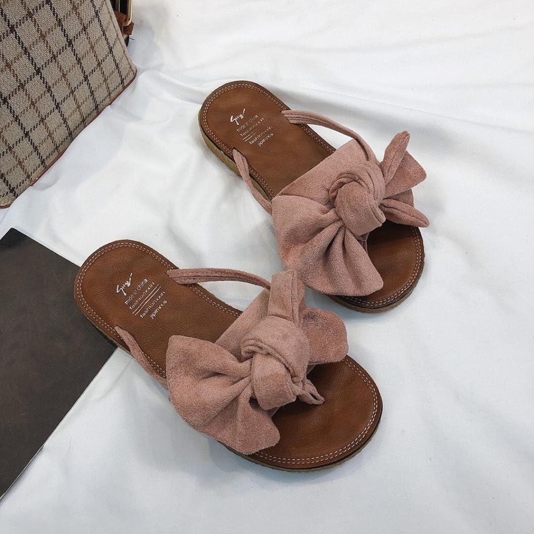 SANFASHION Sandales Deux N/œud Papillons Peep Clip Toe Chaussures Plate Tongs Lani/ère Herringbone Chaussures 35-39