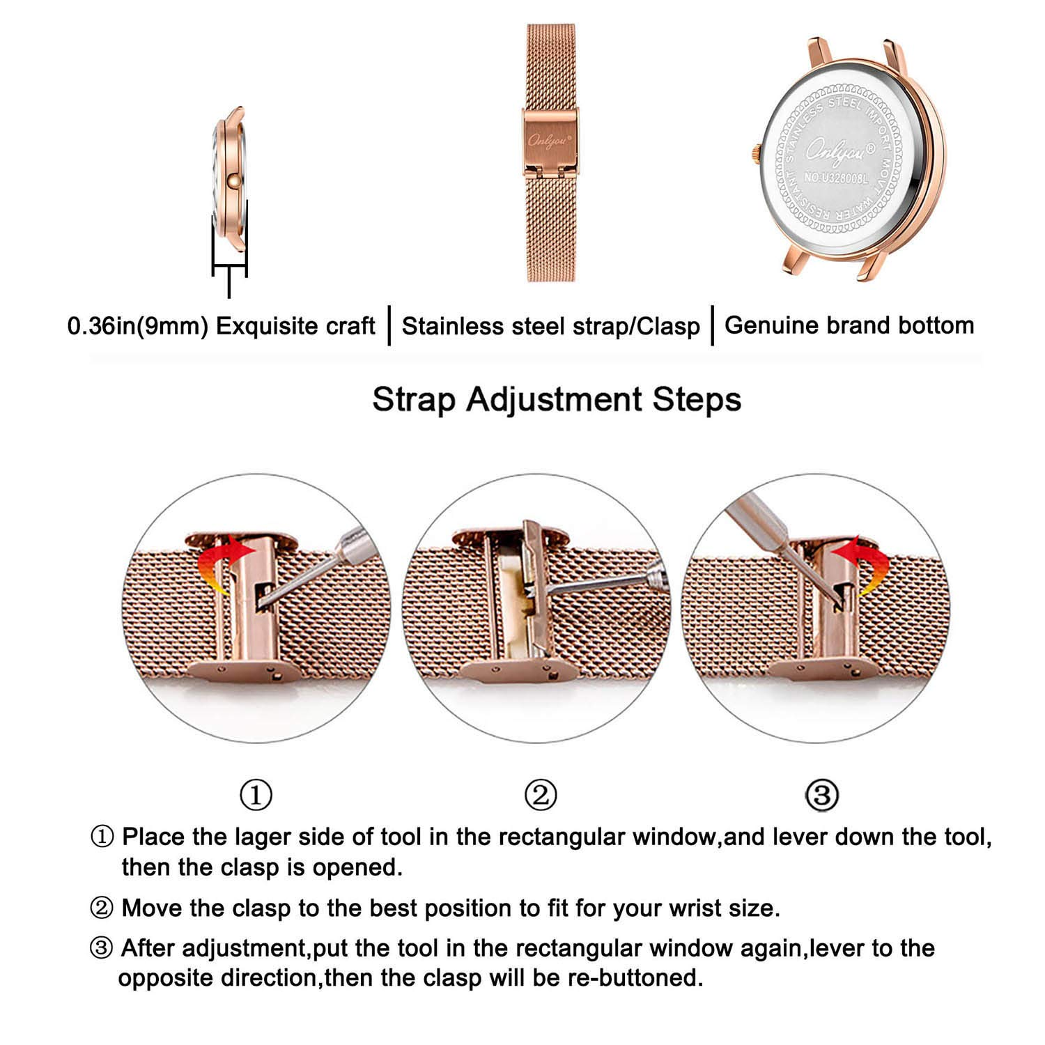 ONLYOU Women's Fashion Watches,Unique Face Design and 30M Waterproof,Analog Quartz Wristwatches with Stainless Steel Mesh Band (Blue) by onlyou (Image #5)