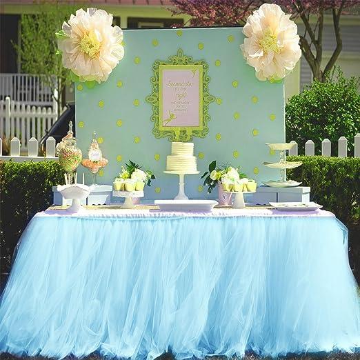 Peachy Amazon Com Haperlare 3Ft Light Blue Tulle Table Skirt Queen Funny Birthday Cards Online Overcheapnameinfo