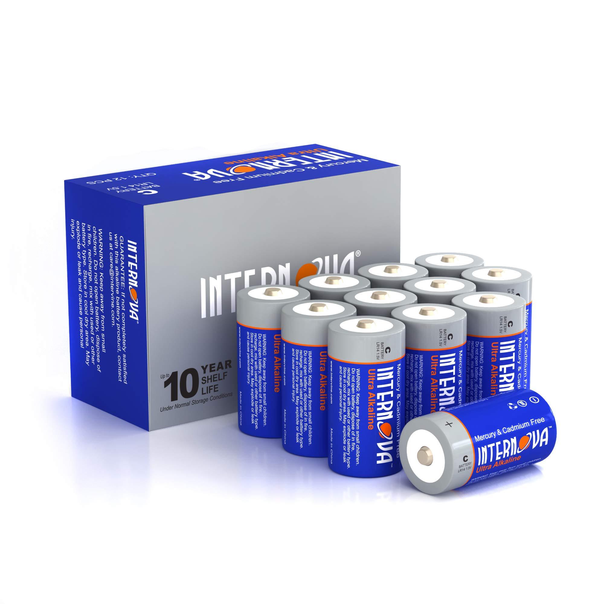 Internova Ultra Alkaline C Batteries, LR14 1.5V Cell High Performance, 12 Pack by Internova