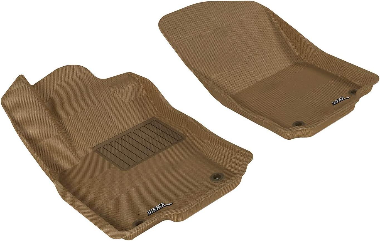3D MAXpider Front Row Custom Fit All-Weather Floor Mat for Select Mercedes-Benz GLE-Class/ GLS-Class/ ML-Class/ GL-Class Models - Kagu Rubber (Tan)