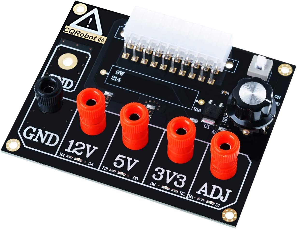 Supports 3.3V 5V with ADJ Adjustable Voltage Knob Reset Protection. ADJ ATX Power Supply Breakout Board and Acrylic Case Kit 12V and 1.5V-9.0V 2A Maximum Output Output Voltage