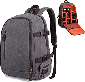 S-ZONE Camera Laptop Backpack Canvas DSLR Daypack with Tripod Holder 14 inch Computer Camera Bag