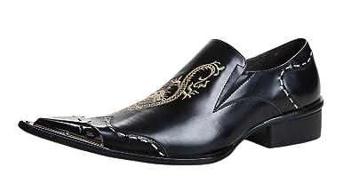 e5d49c9991fa SANTIMON Chelsea Pointed Toe Western Embroidery Leather Dress Men Shoes