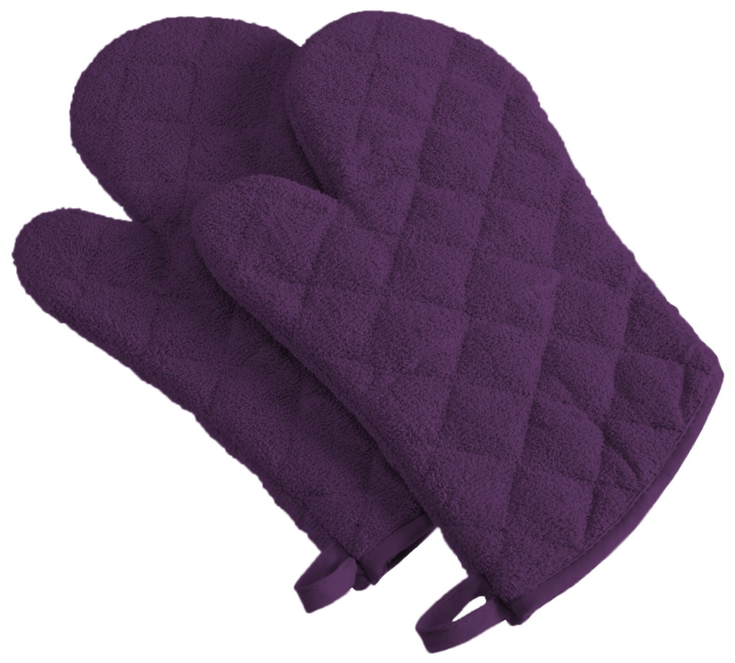 DII 100% Cotton, Machine Washable, Everyday Kitchen Basic Terry Ovenmitt Set of 2, Eggplant
