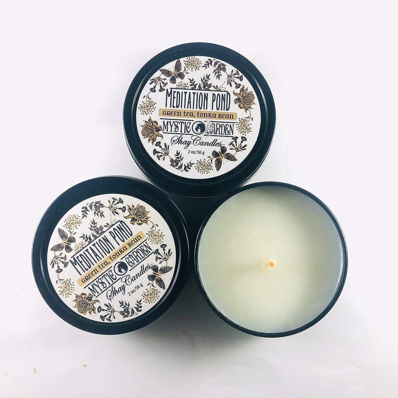 Tonka Bean Scented Candles |MEDITATION POND Green Tea |Coconut Wax Set of Three 2oz Travel Tins