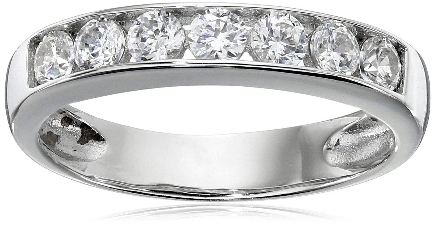 Sterling Silver Platinum-Plated Swarovski Zirconia Round Channel Band Ring, Size 6