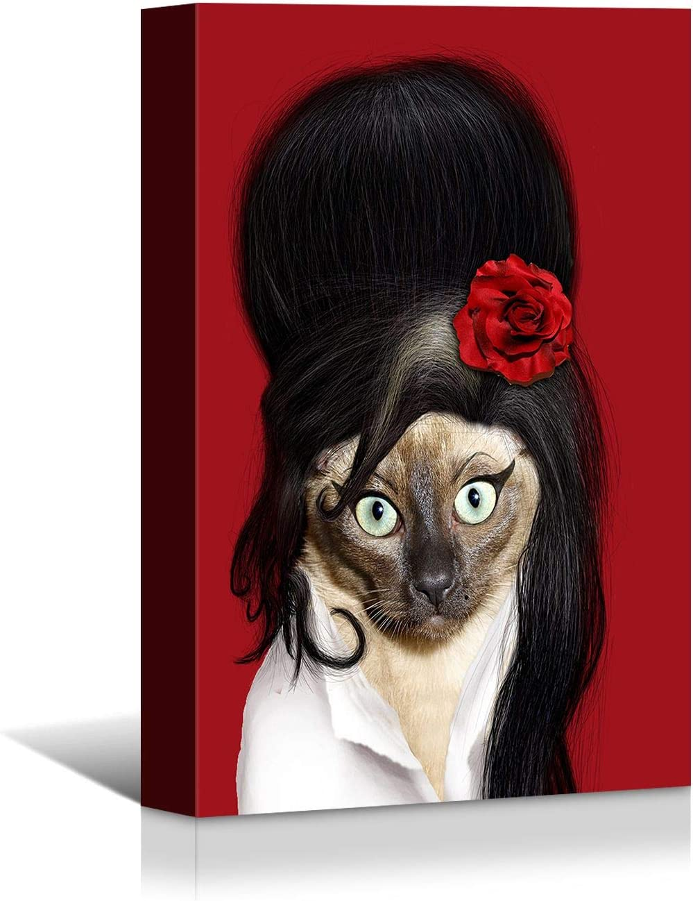 Looife Animal Canvas Wall Art, 12x16 Inch Funny Cat Amy Winehouse Idol Star Portrait Picture Prints Wall Decor, Modern Art Deco for Home & Nursery Decoration, Ready to Hang
