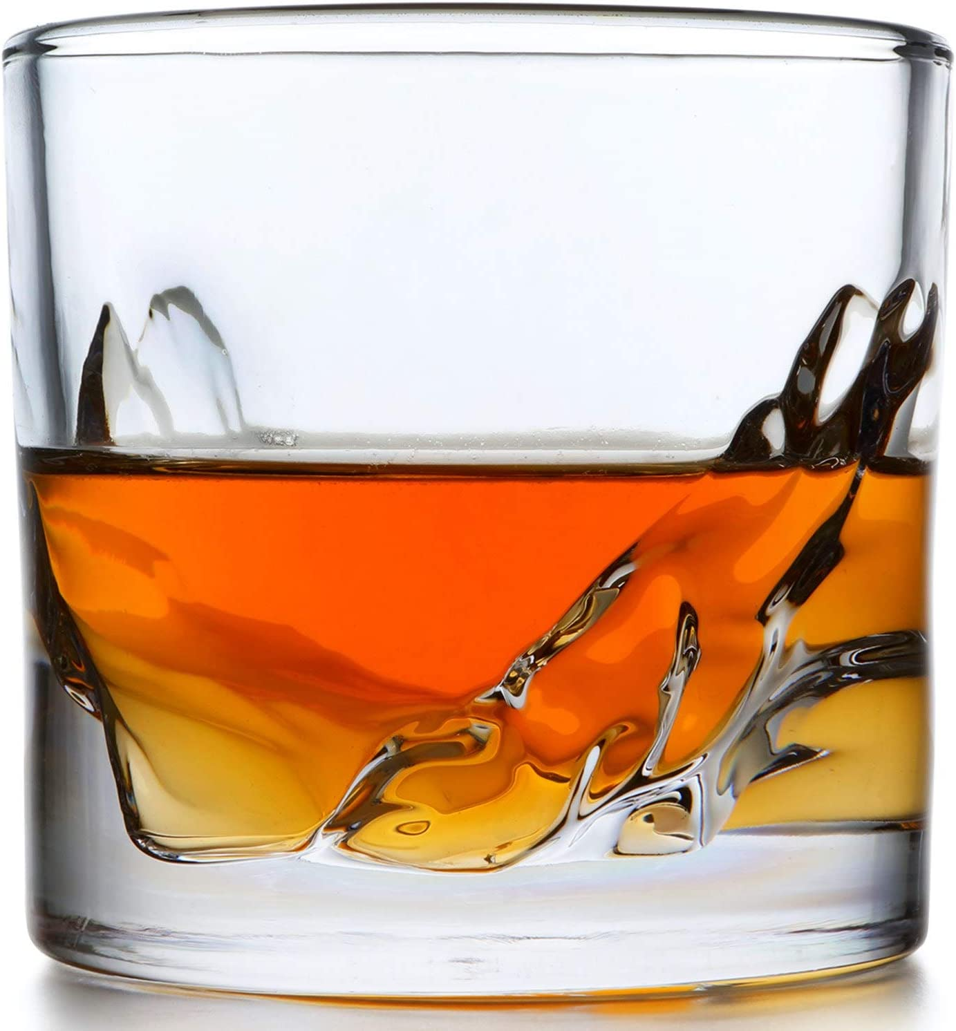 Whiskey Glass Set of 4: Heavy Whisky Tumbler Best as Old Fashioned Glasses, Scotch, Bourbon, or Bar Drinks in a Gorgeous Mountain Design with a Thick and Heavy Weighted Bottom Barware Accessories