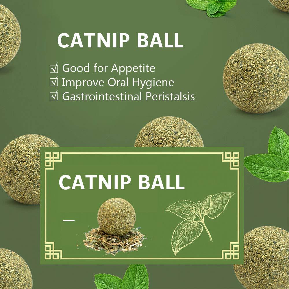 Fesjoy Pelota de Hierba gatera Catnip Ball Toy Cat Mint Ball Natural Catnip Dientes Limpieza Jugando Chew Claw Toy Pet Supplies