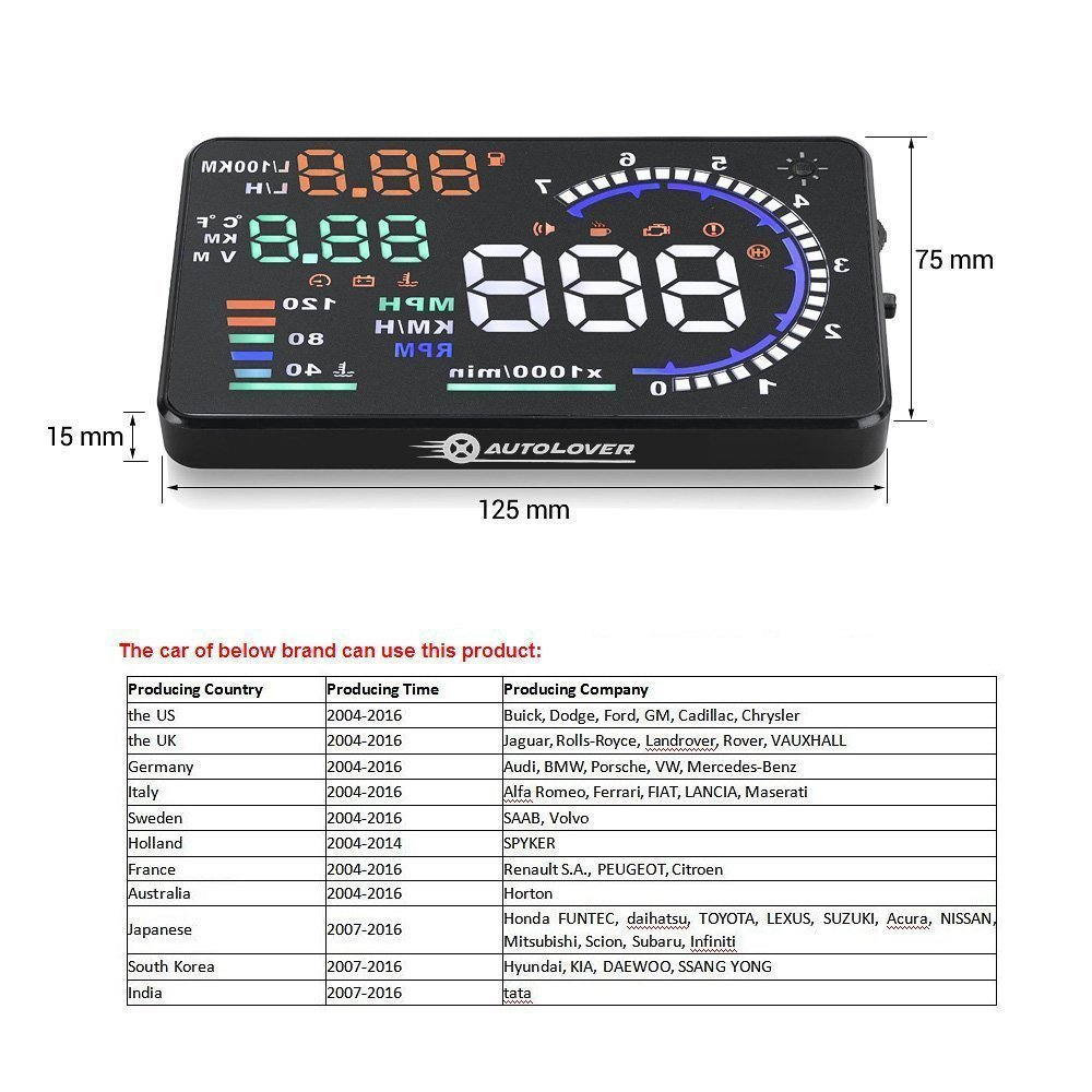Autolover A8 55 Inch Obd Ii Car Windshield Hud Head Up Display Automobile Wiring Colour Codes With Speed Fatigue Warning Rpm Mph Fuel Consumption Automotive