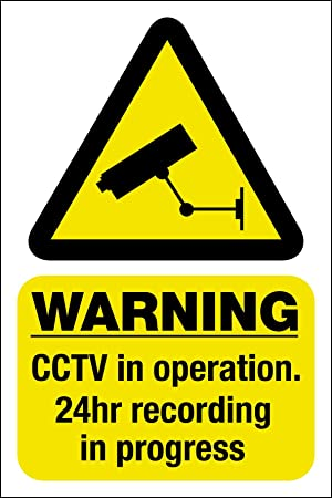 Cctv window sticker security camera warning sign window sticker 150mm x 100mm