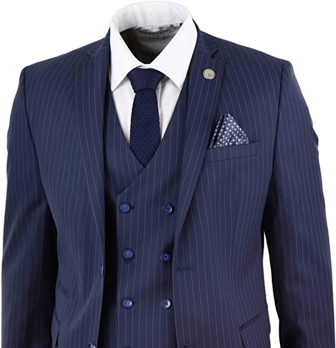 Mens 3 Piece Suit Gatsby 1920s Peaky Blinders Gangster Pinstripe Tailored Fit