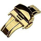 Dバックル プッシュボタン式 観音開き 腕時計用尾錠 簡易工具付属 (ゴールド 22mm)