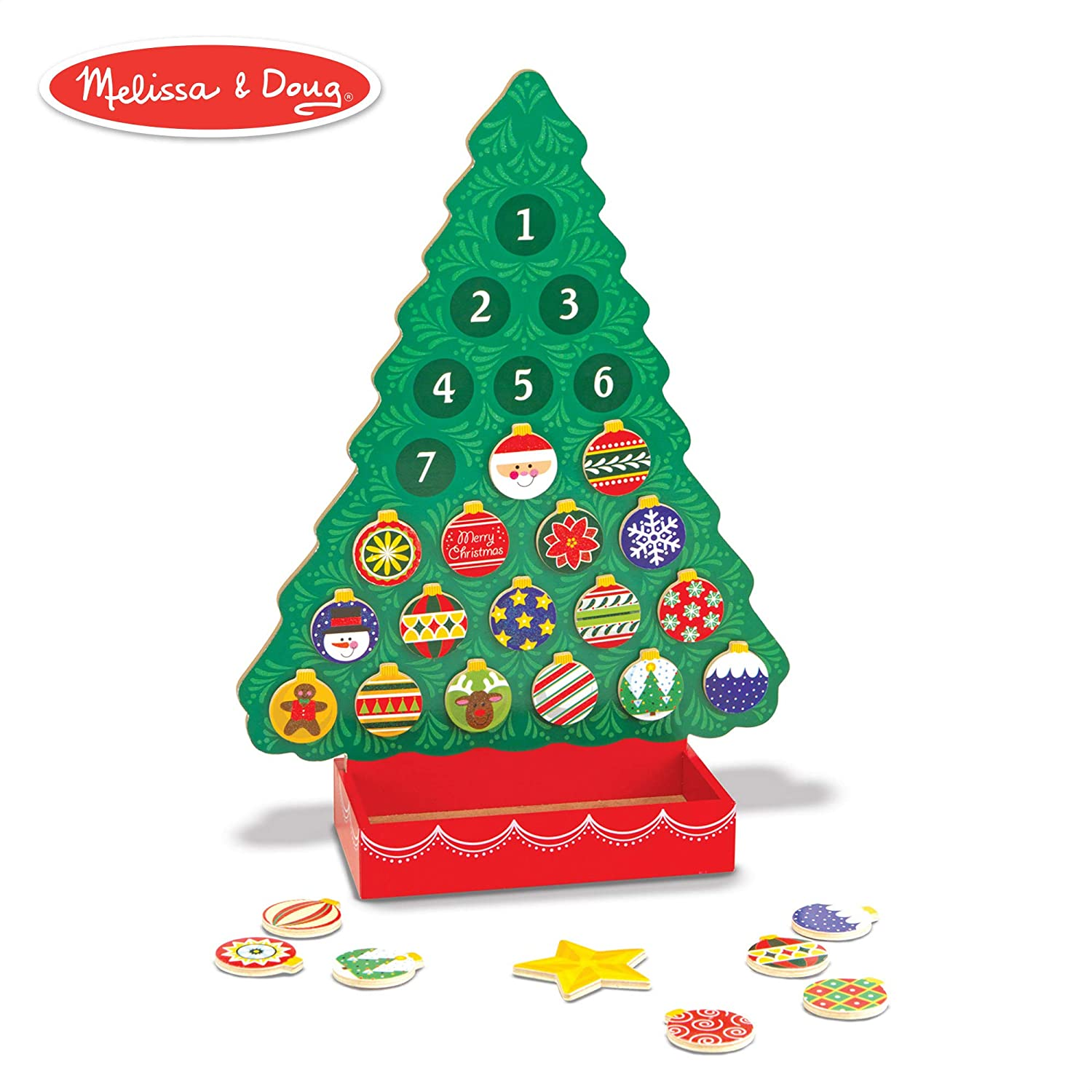 Christmas Countdown Calendar.Melissa Doug Countdown To Christmas Wooden Advent Calendar Seasonal Religious Magnetic Tree 25 Magnets