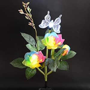 Solar Flower Lights - Solar Powered Rose Path Garden Lights with 3 Flowers and 1 butterfly, Waterproof Outdoor Statues Pathway Lights, Landscape Lighting for Backyard, Patio, Park, Wedding - Colorful