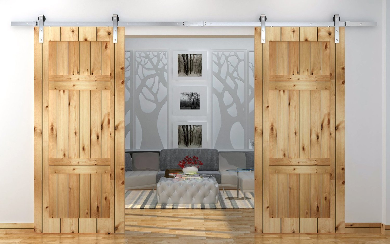 Amazon.com: TMS TSQ03SS(2SET)+CONN SATIN Country Stainless Steel Sliding  Barn Wood Double Door Hardware Track Set, 12u0027, Antique: Home Improvement
