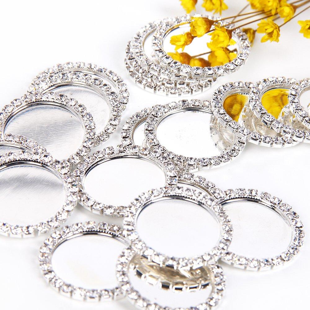 Diamond Rhinestone Caps for Hair Bows Making DIY Pendants or Craft Scrapbooks(Pack of 25) (White Rhinestone)