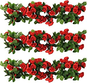 YILIYAJIA 3PCS Artificial Rose Garlands Silk Fake Rose Flowers Green Leaves Vine for Home Hotel Office Wedding Party Garden Craft Art Decor (Red Color)