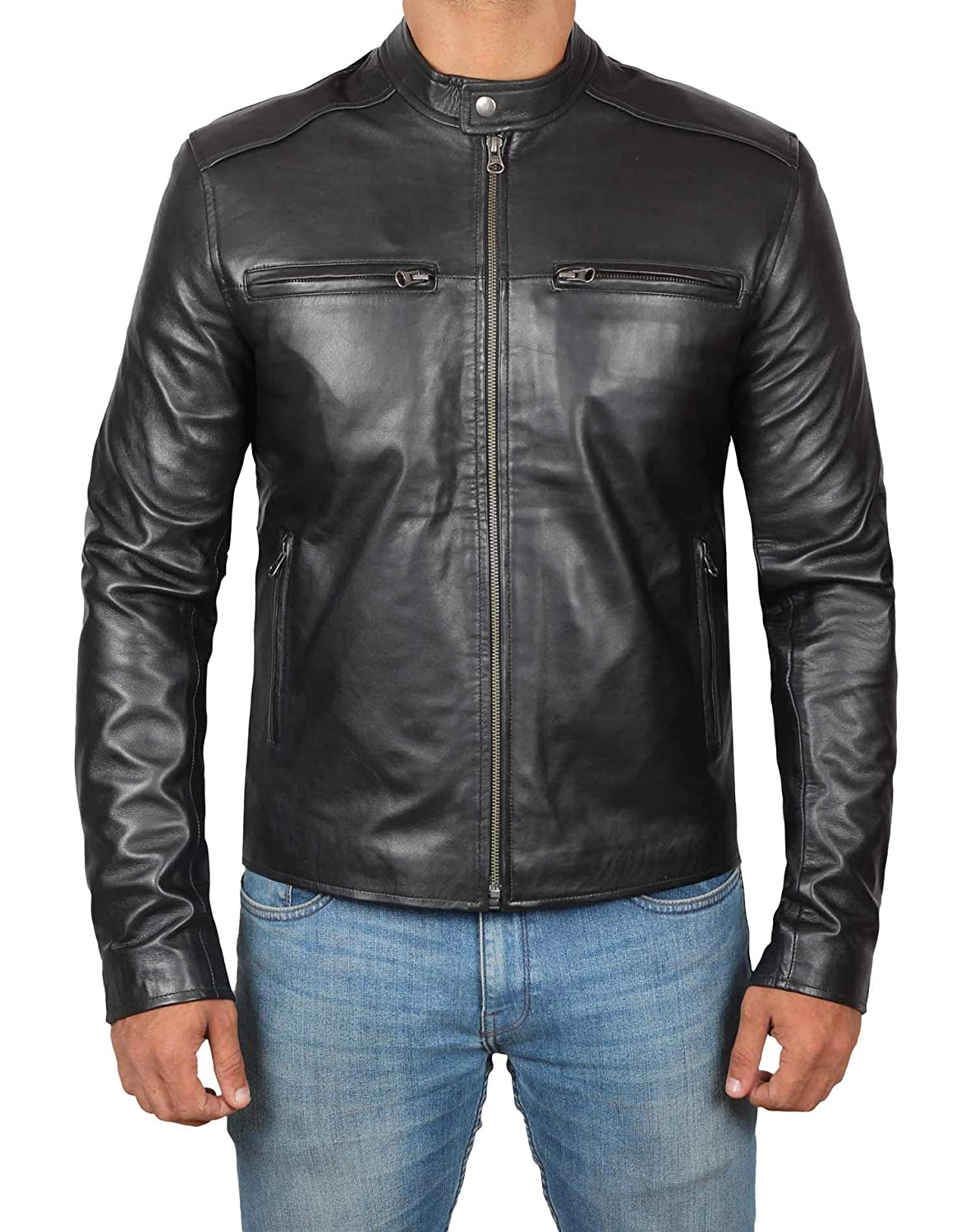 Decrum Motorcycle Jackets for Men - Black Slim Fit Biker Leather Jacket Mens 1280933-PP