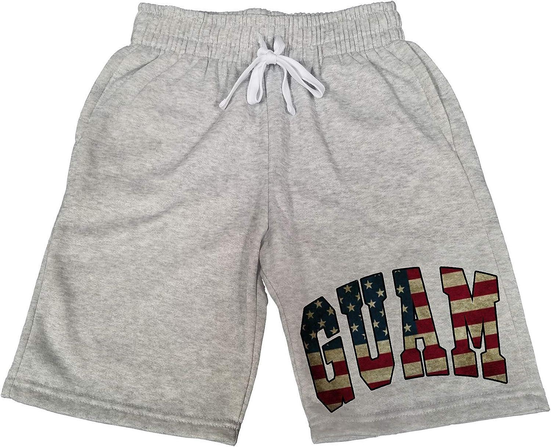 Mens Guam USA Flag B1555 Gray Fleece Jogger Sweatpants Gym Shorts